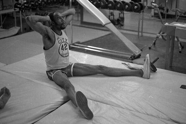 "San Francisco Warriors Nate Thurmond working out, he was wearing jersey with ""The City"" logo   Photos shot 08/20/1970"