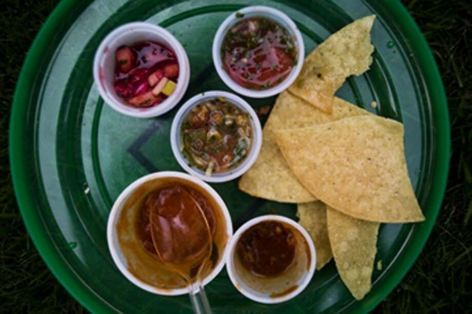 A disc plate full of various chilis and salsas Saturday afternoon during the 14th Annual Chili & Salsa Taste-off. Photo: Sean Proctor