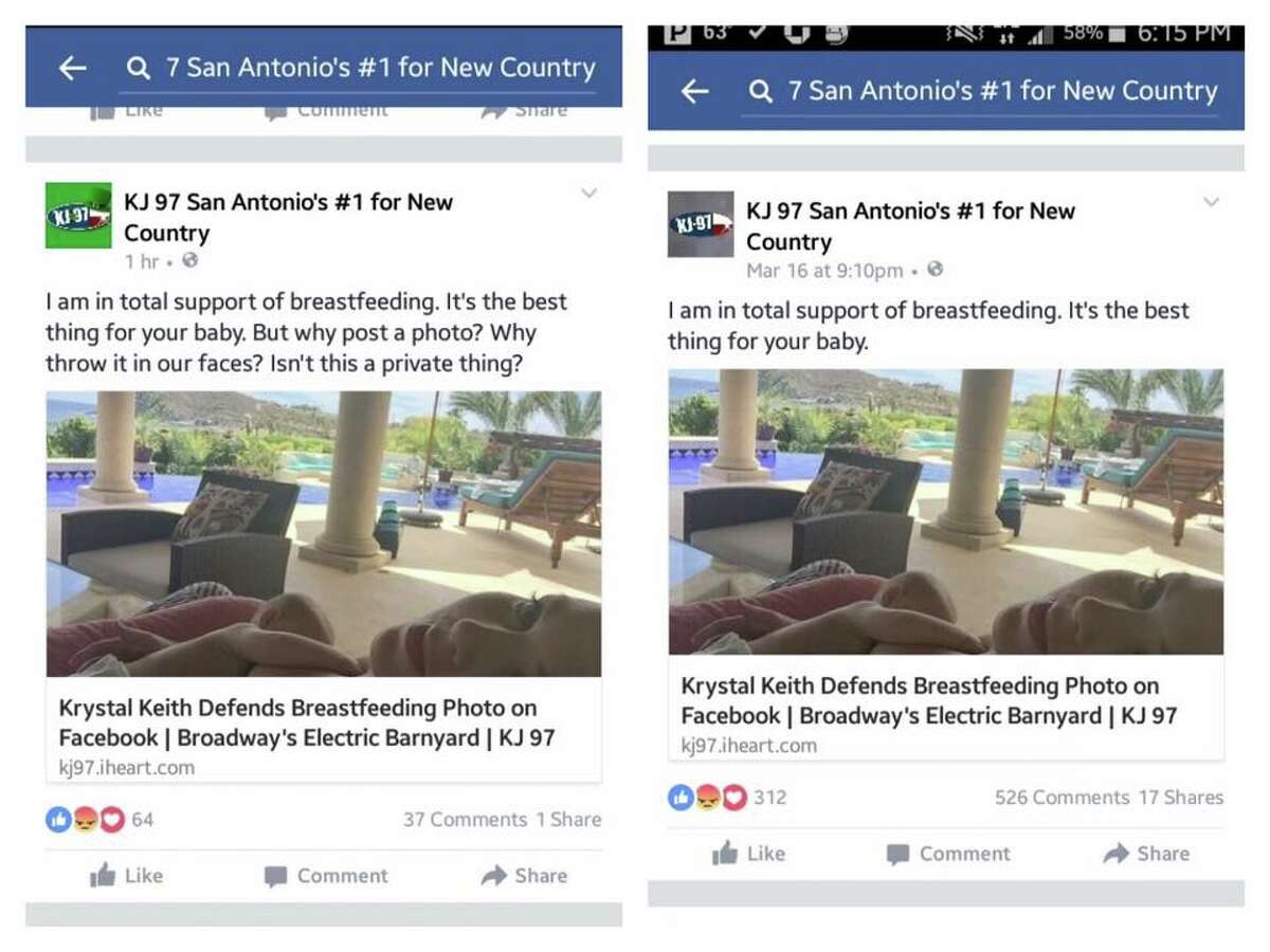 Screenshots provided by Ali Pousha, which she says shows the original post by KJ 97, which was then edited (right,) then deleted entirely.