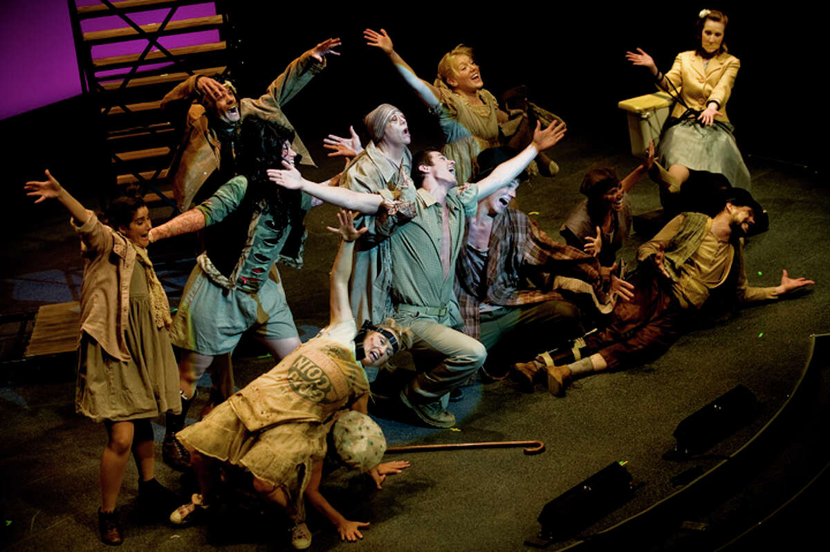 The cast of 'Urinetowon' performs a scene Saturday during the AACT Fest'11 in Rochester, New York.