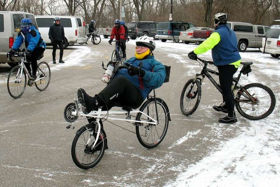 STUART FROHM | for the Daily NewsOn a recumbent bicycle, John Geminder prepares to leave Midland's Farmers Market at the start of the ninth annual Millennium Ride. That ride was one of the coldest in the event's history.