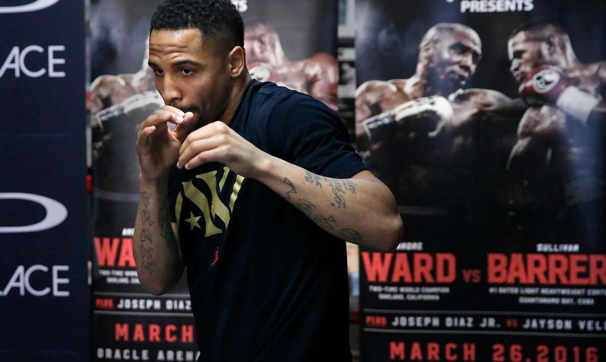 Local boxer Andre Ward shadow boxes during a media workout on Tues. March 22, 2016, at King's Boxing Gym in Oakland, California, as he prepares for his light heavyweight boxing match against Sullivan Barrera at Oracle Arena this weekend.