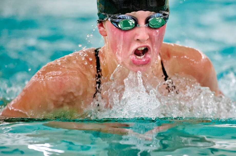 NICK KING | nking@mdn.netDow's Ellie Dean competes in the 200-yard individual medley Thursday at Dow High. Dean finished first in the event with a time of 2:19:43. Photo: Nick King/Midland  Daily News