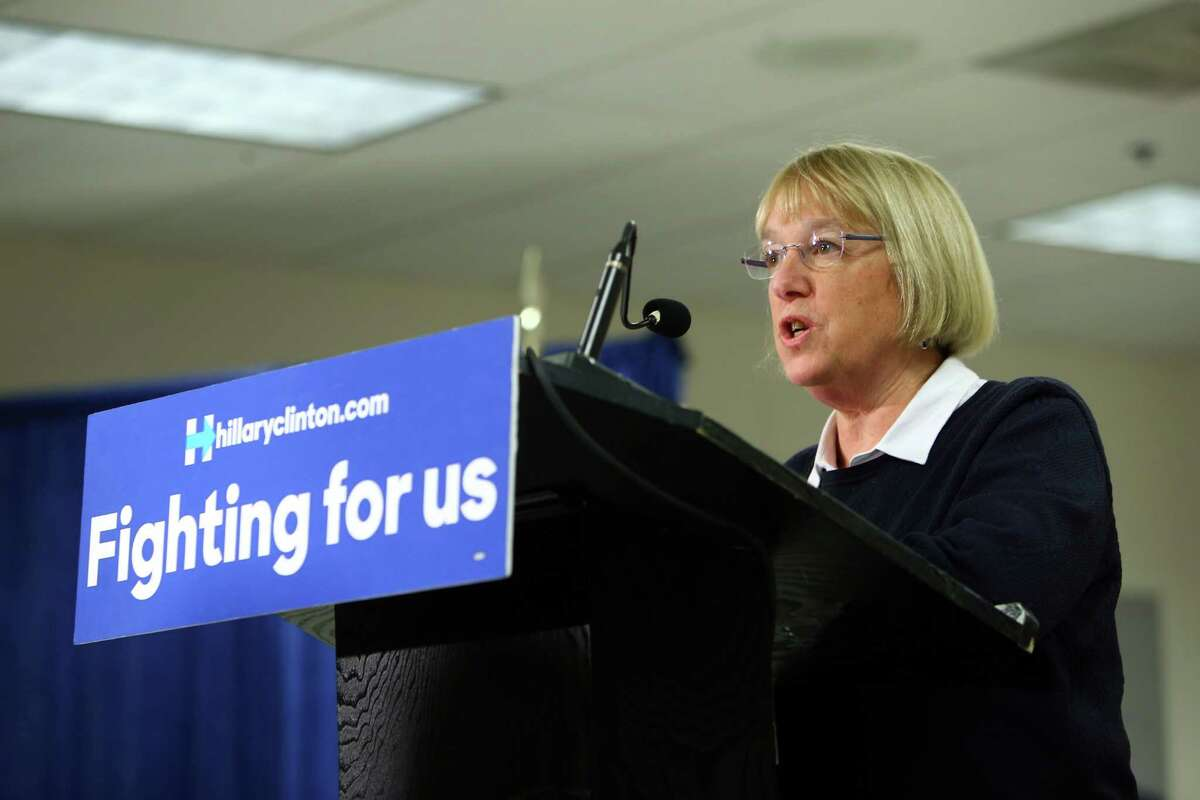 """Sen. Patty Murray, D-Wash., has been denied a Washington State Labor Council endorsement because of her support for giving President Obama """"fast track"""" authority to negotiate a Trans-Pacific Partnership trade agreement. Murray is seen speaking at the Boeing Machinists hall in Everett. Three Democratic House members were also left off labor's endorsement list."""