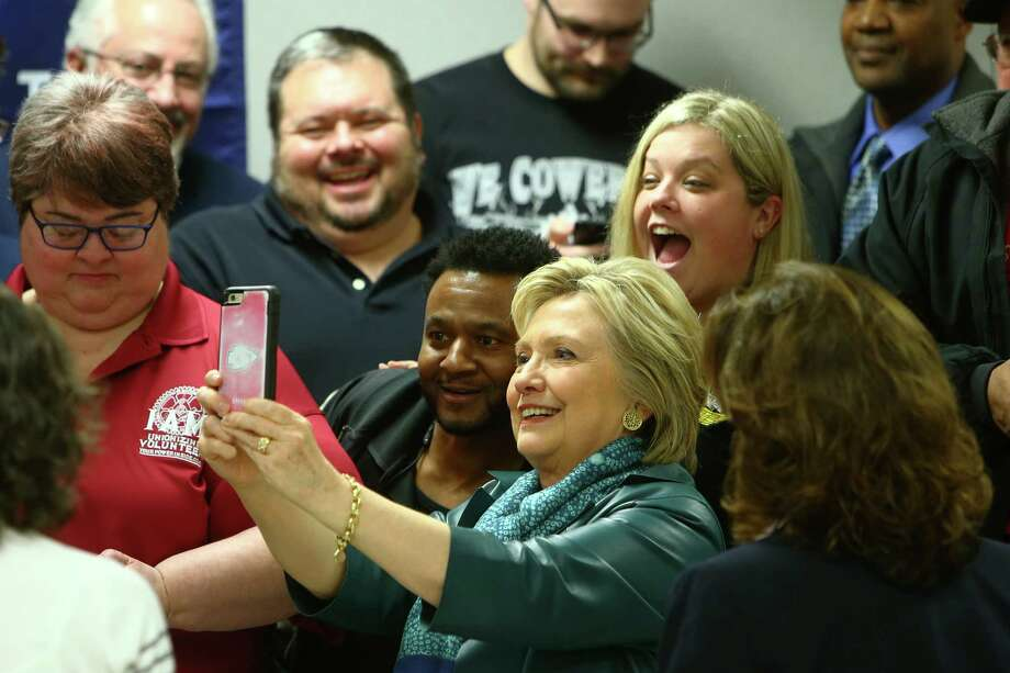 Hillary Clinton talks to voters at the Boeing Aerospace Machinists hall in Everett.  It's the type of venue where she needs to be seen more often, with an urgent need to find her voice and message in the last 50 days of the 2016 campaign.  Photo: GENNA MARTIN, SEATTLEPI.COM / SEATTLEPI.COM