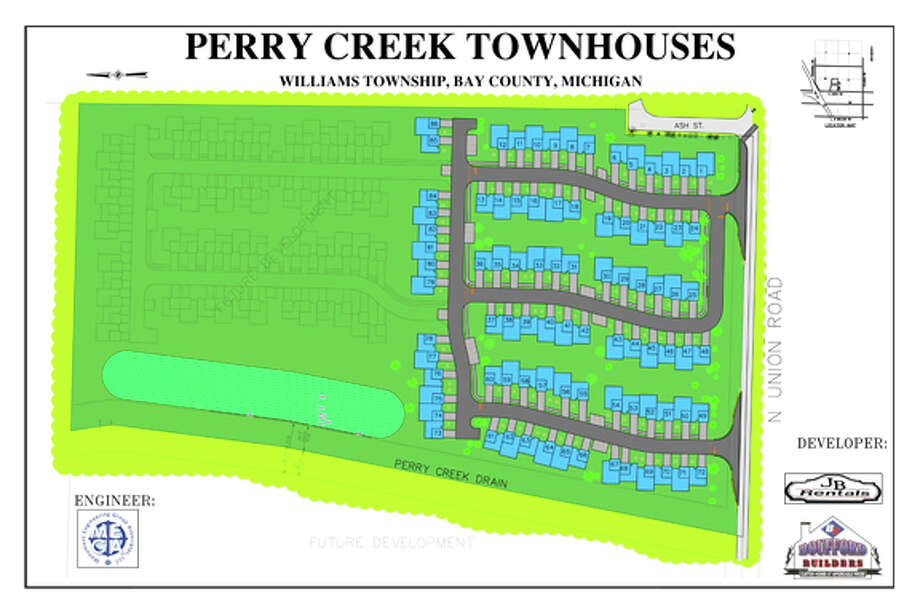 Site plan for the Perry Creek Townhomes project Photo: Provided