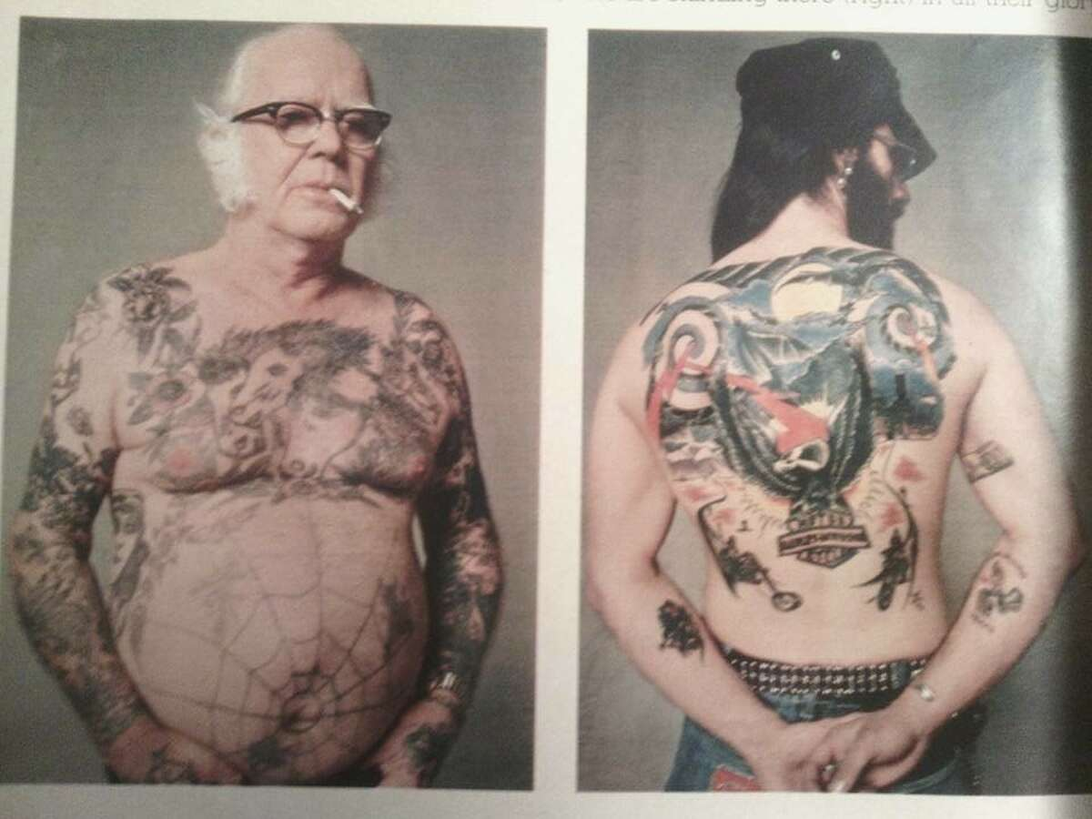 Spiderwebs, flowers. eagles, and scowls have been mainstays of tattoo culture for decades. At left is tattooist Beachcomber Bill, who started tattooing in Corpus Christi in the 1930's.