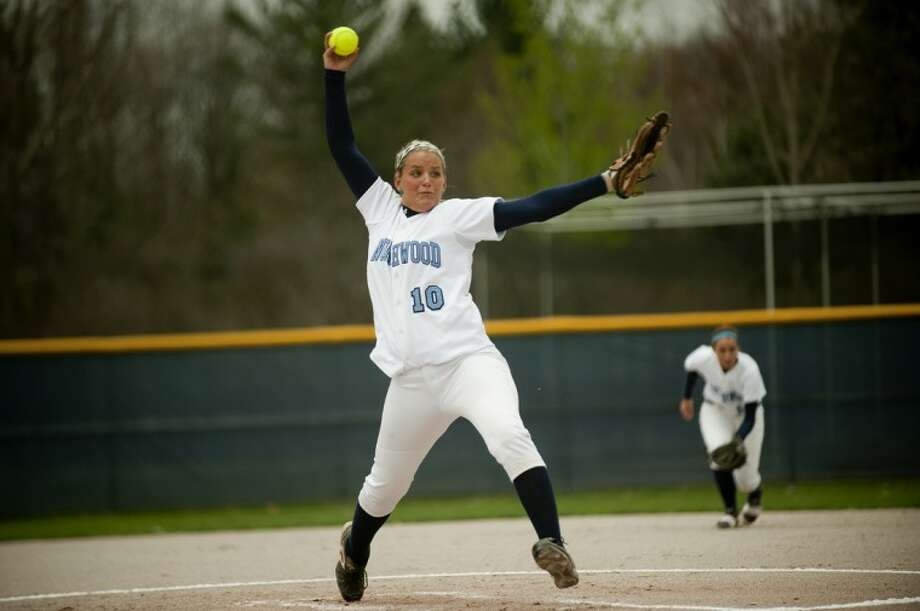 NEIL BLAKE | nblake@mdn.netNorthwood's Maddison Sebald pitches during the first inning against Grand Valley State in the first game of a doubleheader on Wednesday. Northwood lost the game 17-3. Photo: Neil Blake/Midland  Daily News