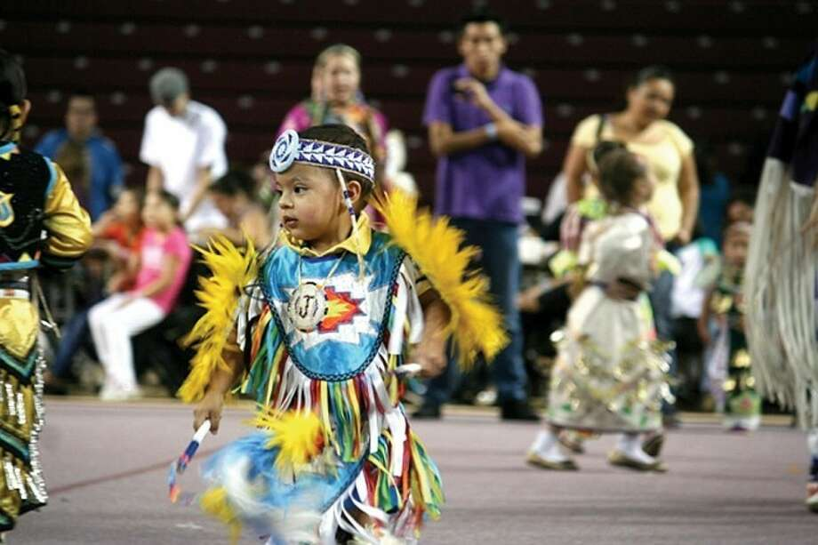 "Lisa Stayut | for the Daily NewsJaymison Hill, 2, a member of the Oneida Tribe of Indians of Wisconsin, dances for the first time at the powwow during the ""tots"" dance."