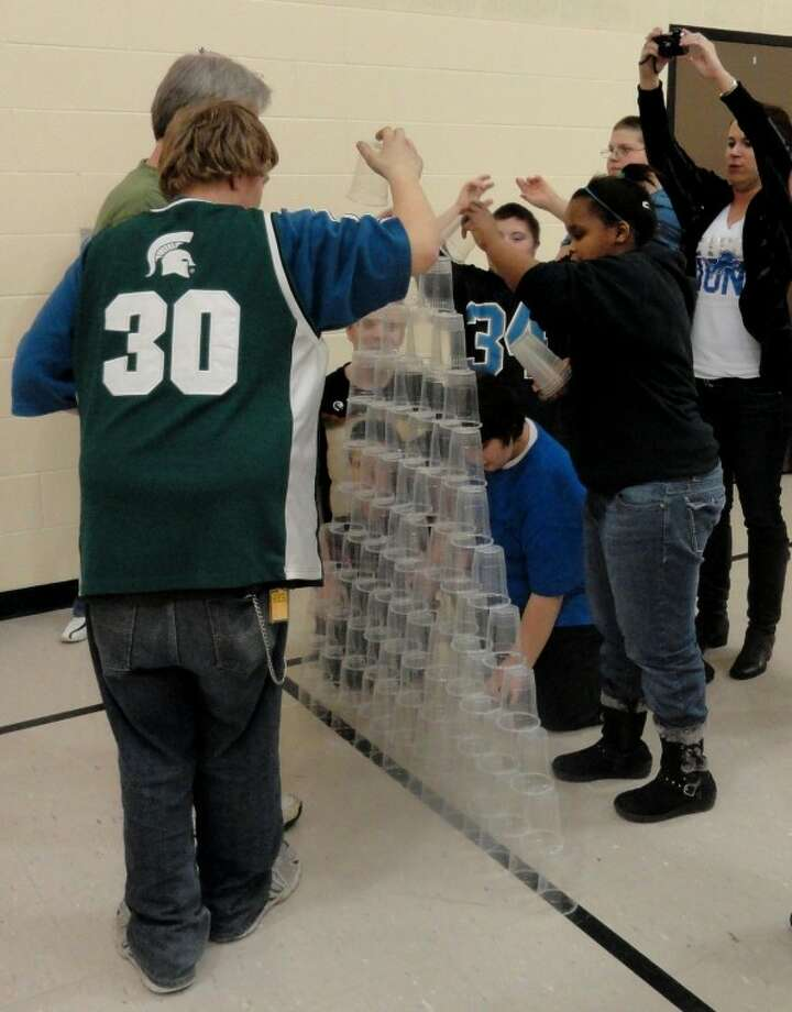 Photo providedEach class at the Clare-Gladwin Area School competed against one another to see who could stack 100 plastic cups the fastest.