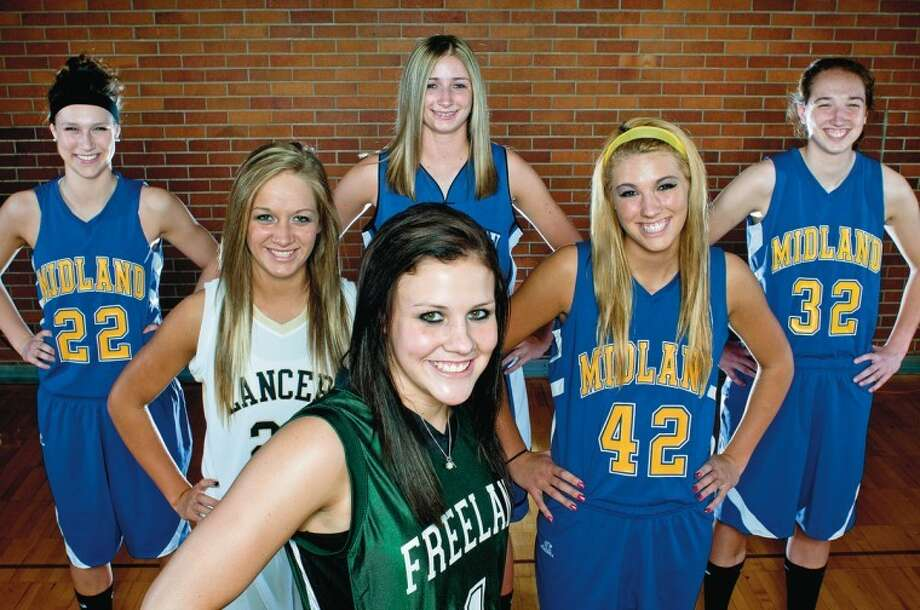 NICK KING | nking@mdn.netGirls' basketball Dream Team members are: (front) Tori Jankoska, Freeland (Player of the Year); second row, from left: Emilie Pretzer, Bullock Creek; Jennifer Jarema, Midland High; third row, from left: Jessica Walter, Midland High; Karli Herrington, Hemlock; Maura McAfee, Midland High.