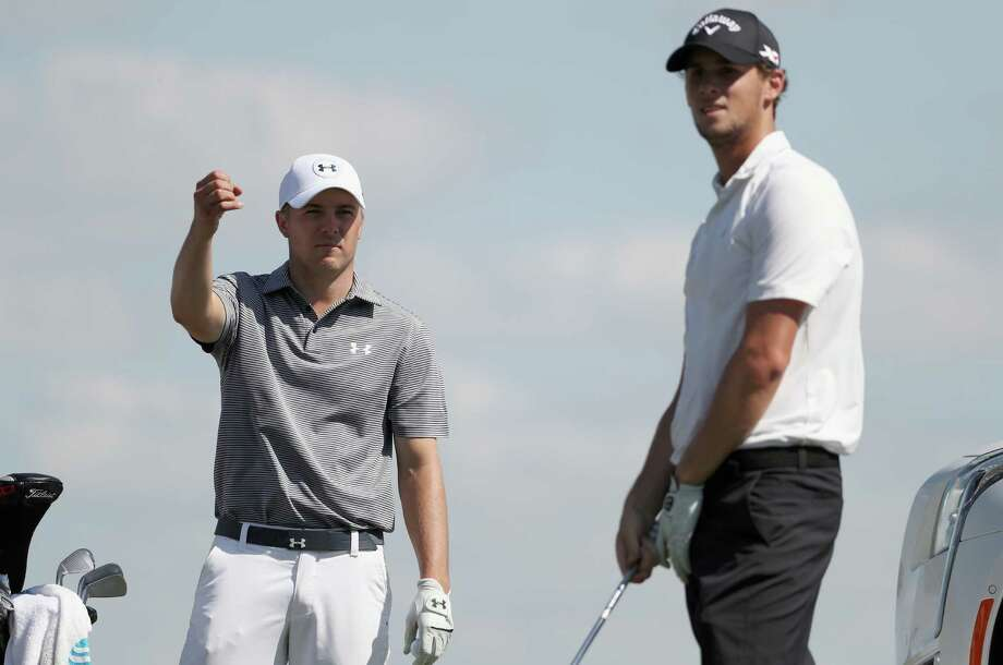 Jordan Spieth, left, shares some knowledge of the Austin Country Club course with Thomas Pieters during a practice round Tuesday. Photo: Tom Pennington, Staff / 2016 Getty Images