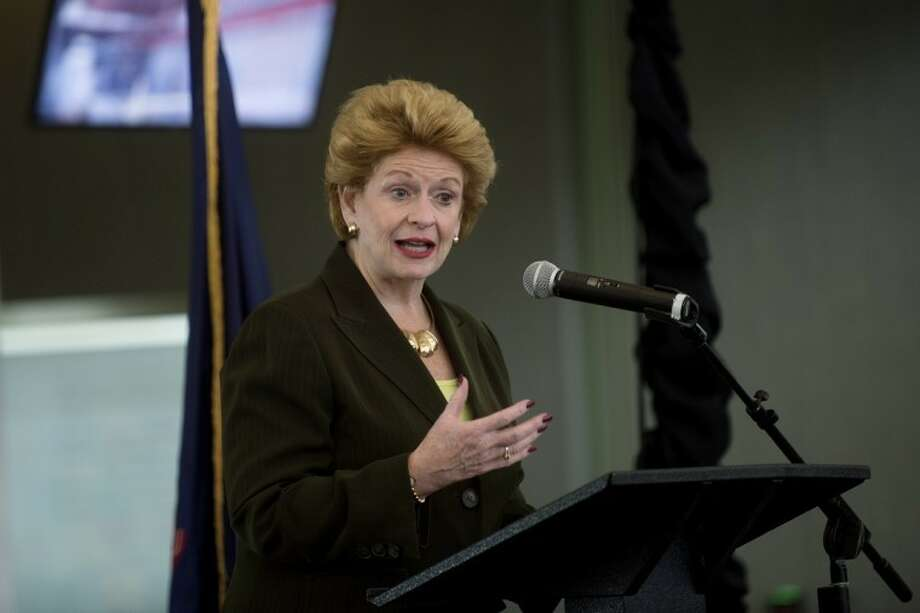 U.S. Sen. Debbie Stabenow, D-Mich., speaks during an unveiling ceremony for MBS International Airport's new terminal on Friday. Guests included legislative representatives, government officials and community leaders from the Great Lakes Bay Region. The new 75,000 square-foot terminal replaces the old one and will be open next week. Photo: Nick King/Midland  Daily News