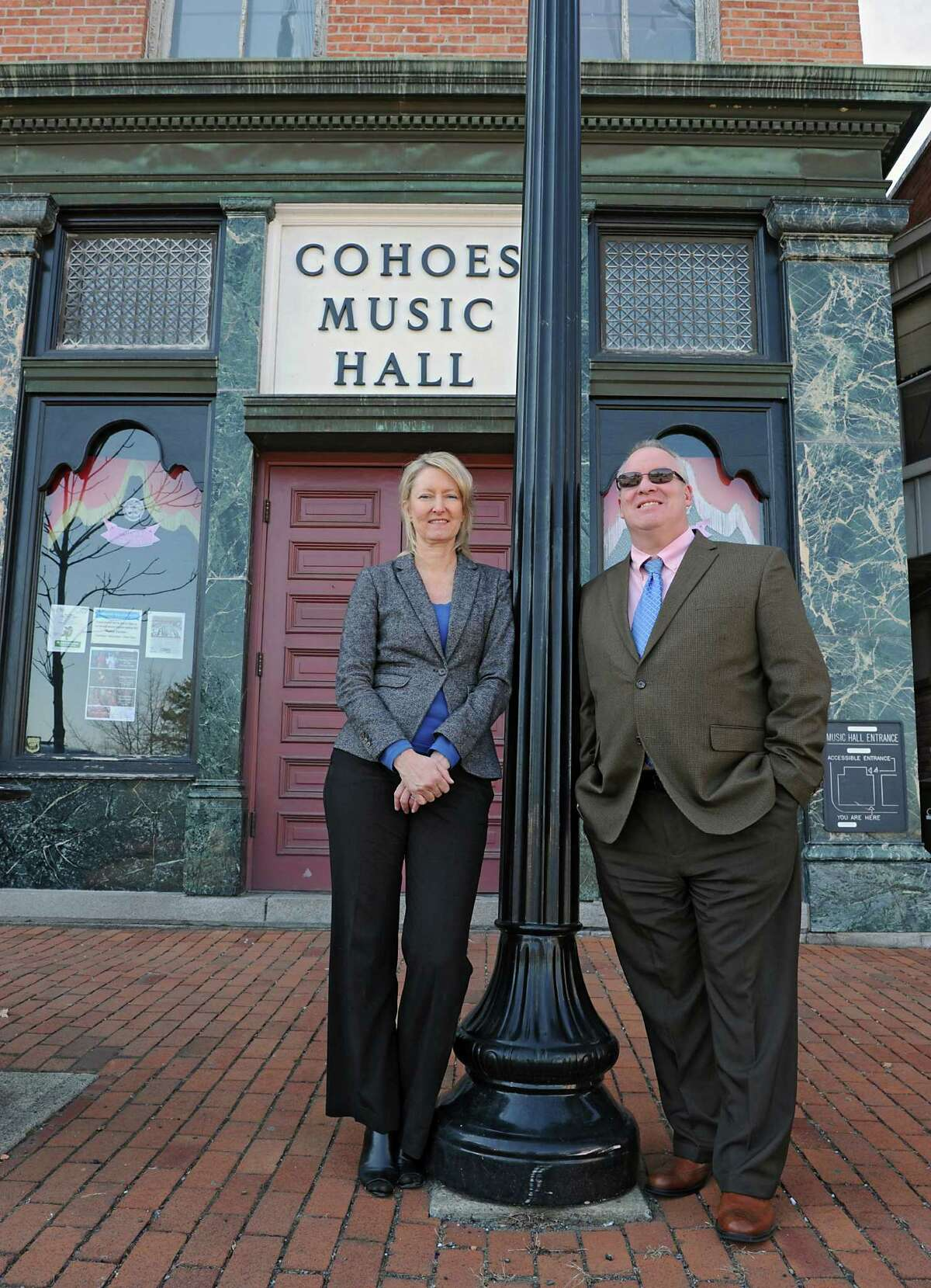 Palace Theatre manager Holly Brown and Cohoes Mayor Shawn Morse stand outside the Cohoes Music Hall on Tuesday, March 22, 2016 in Cohoes, N.Y. Palace Theatre is taking over management of Cohoes Music Hall. (Lori Van Buren / Times Union)
