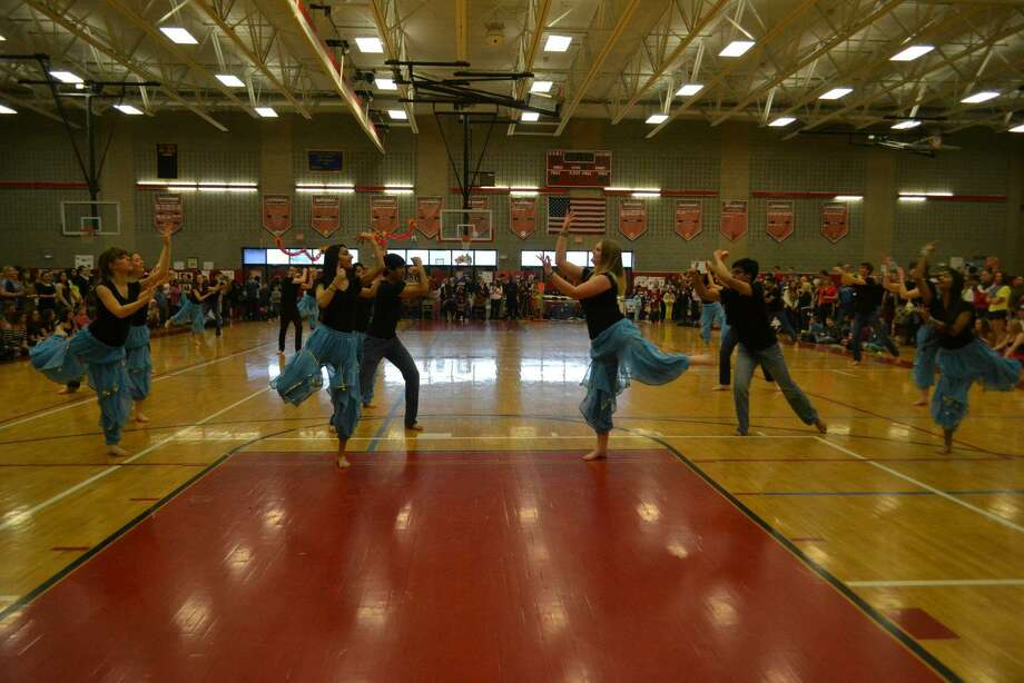 Members of the Indian dance group at Guilderland High School perform at the school's cultural fair in 2013. (Photo courtesy of Caroline Grondahl)