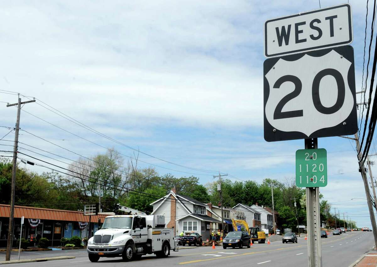 Route 20 sign on Thursday, May 21, 2015, in Guilderland, N.Y. (Michael P. Farrell/Times Union archive)