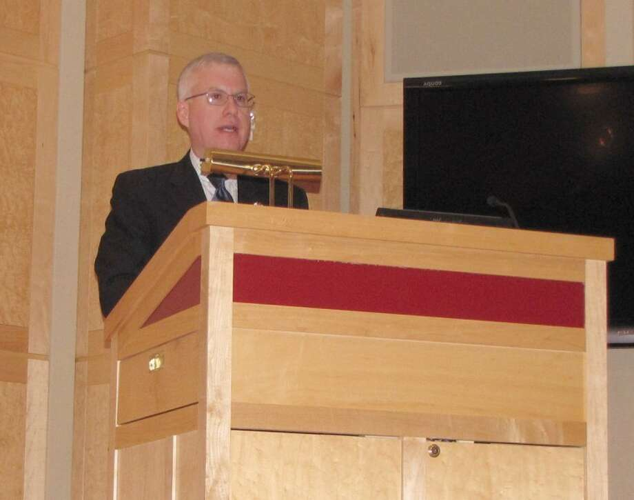 Canadian Consulate General Roy Norton speaks at Central Michigan University on Monday night.