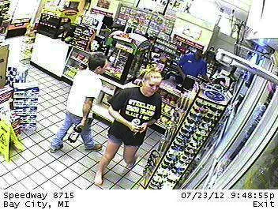 This picture of driver was obtained from security cameras at the gas station. Photo from Bay City Police.