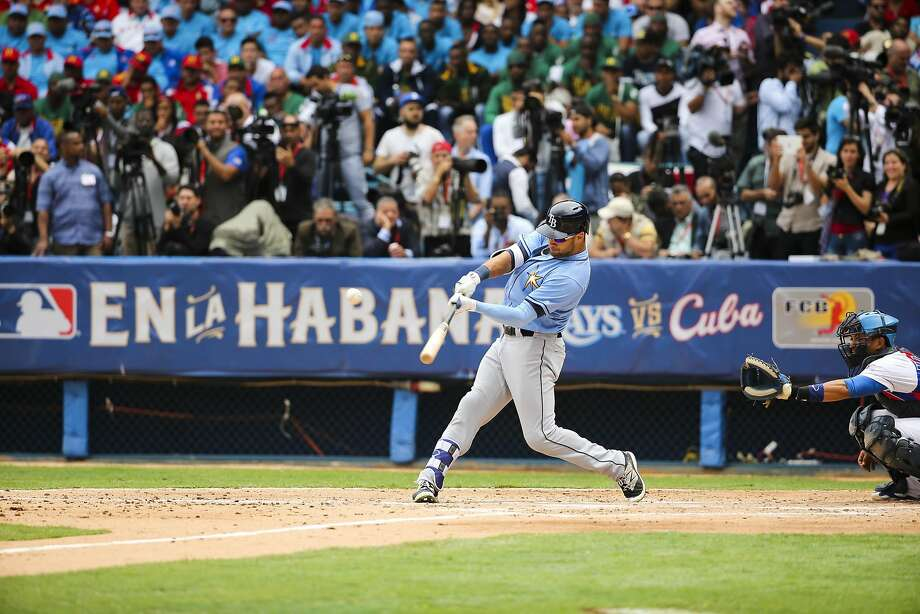 Tampa Bay Rays' Kevin Kiermaier (39) doubles in the second inning of a baseball game against the Cuban national team in Havana, Cuba, Tuesday, March 22, 2016. It's the first game featuring an MLB team in Cuba since the Baltimore Orioles played in the country in 1999.  Photo: Will Vragovic, AP