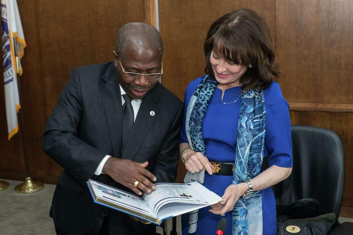 Port of Houston Commission Chairwoman Janiece Longoria signs a memorandum of agreement with Port Authority of Gabon General Manager Rigobert Ikambouayat-Ndeka on Tuesday, March 22.