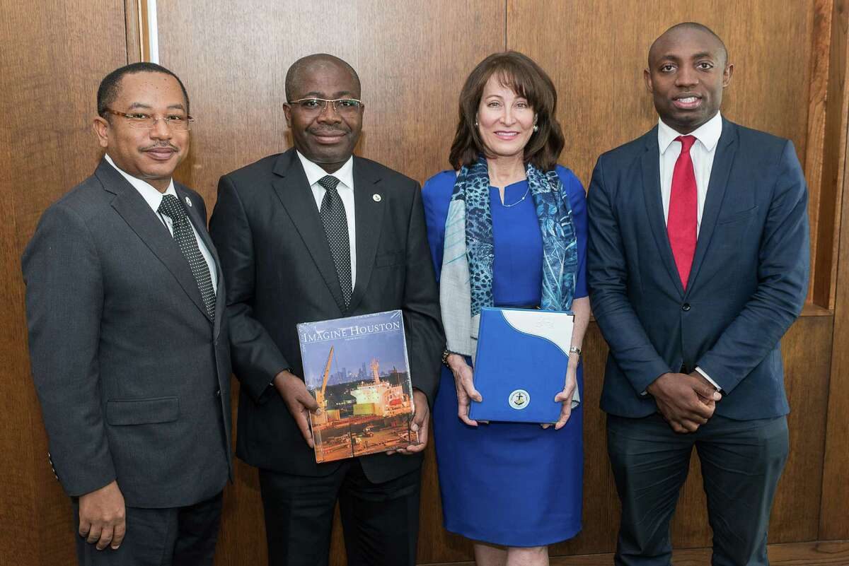 Gabonese Port officials and the Port of Houston Commission gather to sign a memorandum of understanding. Left to right: Regis Laccruche, Commander of the Ports of Gabon, Rigobert Ikambouayat, Chairman of the Ports of Gabon, Port of Houston Authority Chairman Janiece Longoria, Raoul Keddy, President of the America-Africa Chamber of Commerce and Board Member, City of Houston Mayor�'s International Trade &Development Council.