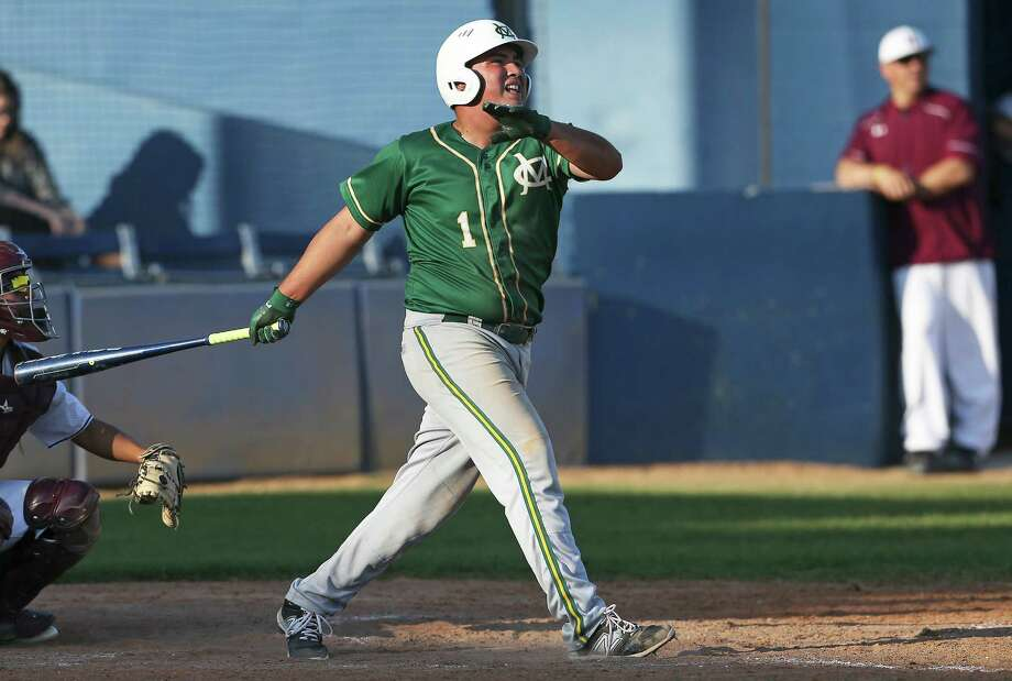 Cowboy stud Ralph Ramirez follows a hard hit ball to the outfield against the wind which netted him a double as McCollum beats Highlands 8-5 in 28-5A baseball at the SAISD Complex on March 22, 2016. Photo: TOM REEL, STAFF / SAN ANTONIO EXPRESS-NEWS / 2016 SAN ANTONIO EXPRESS-NEWS