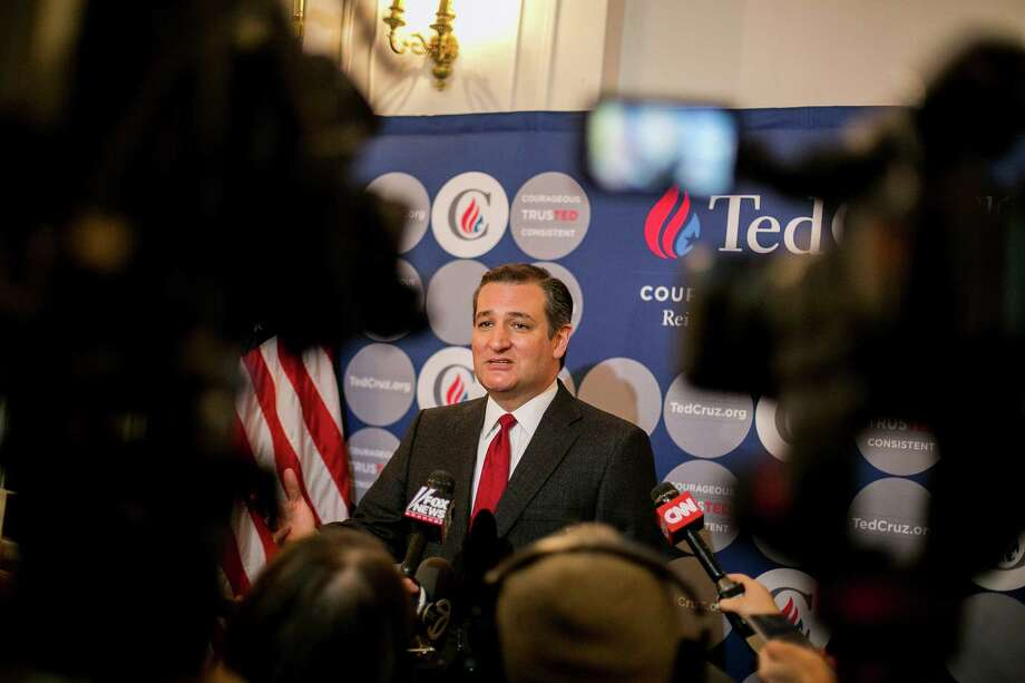 "Sen. Ted Cruz, speaking at the Metropolitan Republican Club in New York on Tuesday, stirred controversy with a call to ""patrol and secure Muslim neighborhoods"" in the wake of the terrorist attacks in Brussels. Photo: SAM HODGSON, STR / NYTNS"