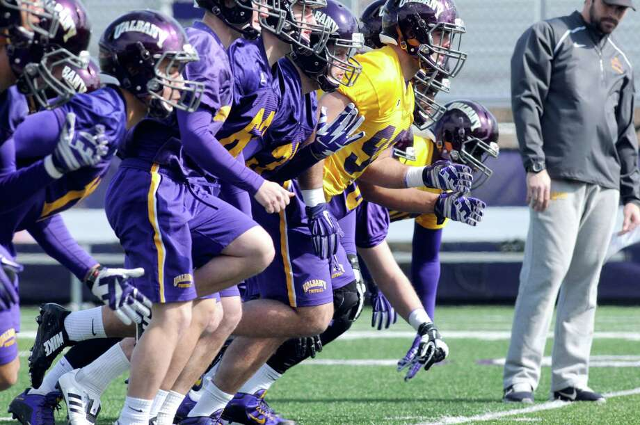 UAlbany football had their first practice of the spring at Bob Ford Field on Tuesday March 22, 2016 in Albany, N.Y. (Michael P. Farrell/Times Union) Photo: Michael P. Farrell / 10035921A