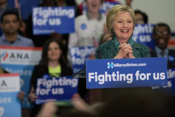 Democratic presidential candidate Hillary Clinton speaks at a rally at Rainier Beach High School in Seattle on Tuesday, Mar. 22, 2016.