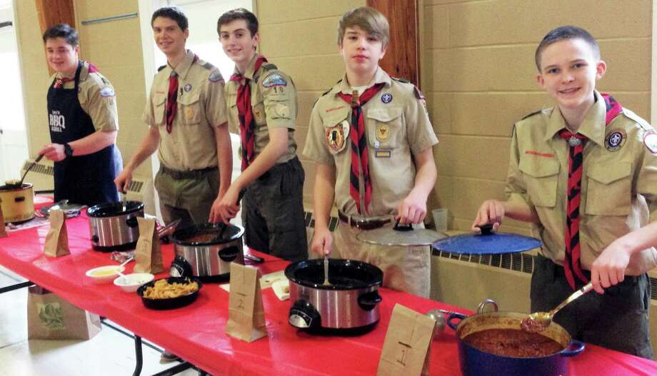 Troop 10 Boy Scouts who competed in the troop's recent chili cook-off were, from left, Leo Johnson, Matt Wojnowski, Erik Leonard, Harry Graney-Green and John Clancey. Photo: Contributed / Contributed Photo / Fairfield Citizen