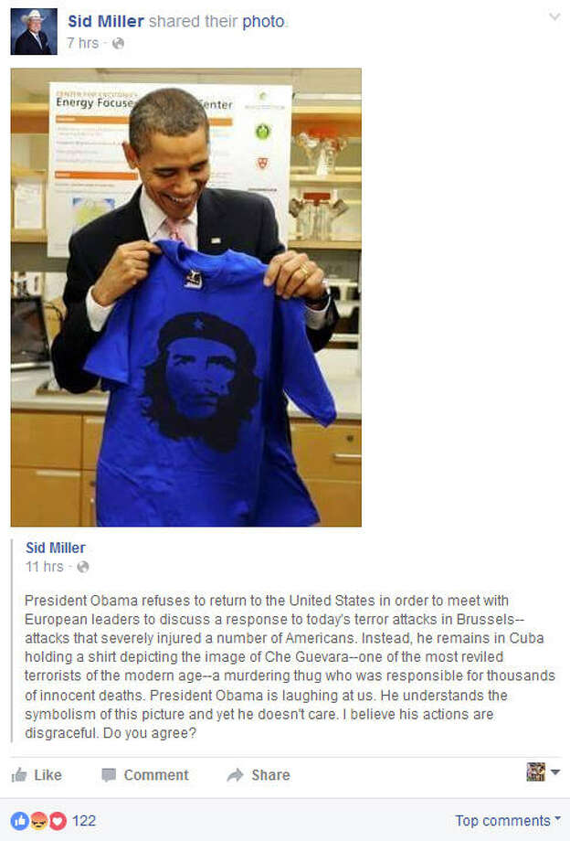 "Late Tuesday night, Texas Agriculture Commissioner Sid Miller's Facebook page posted a photo of President Barack Obama smiling, holding up a blue shirt emblazoned with the face of Ernesto ""Che"" Guevara, the Marxist revolutionary. The only problem is that the photo wasn't taken during Obama's visit to Cuba, March 2016."