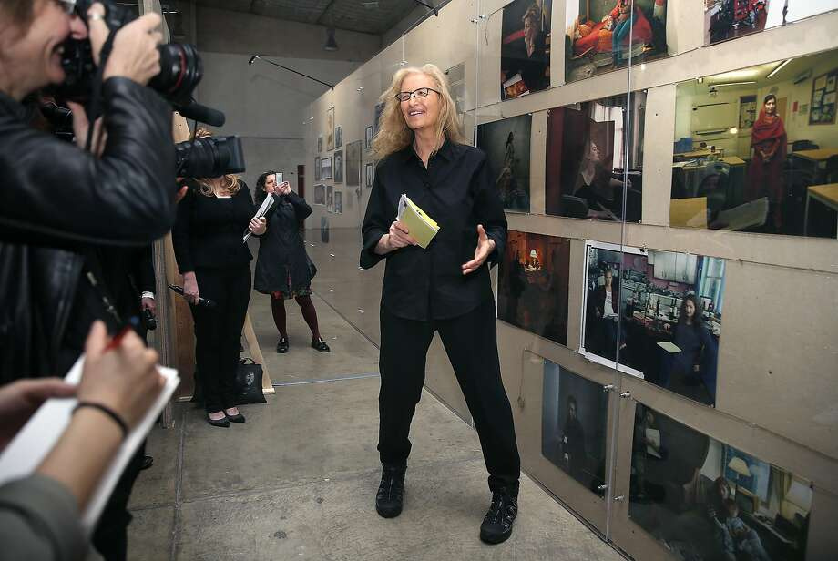 """Annie Leibovitz talks about her new photography exhibition, """"Women: New Portraits,"""" at Crissy Field in San Francisco. Photo: Liz Hafalia, The Chronicle"""