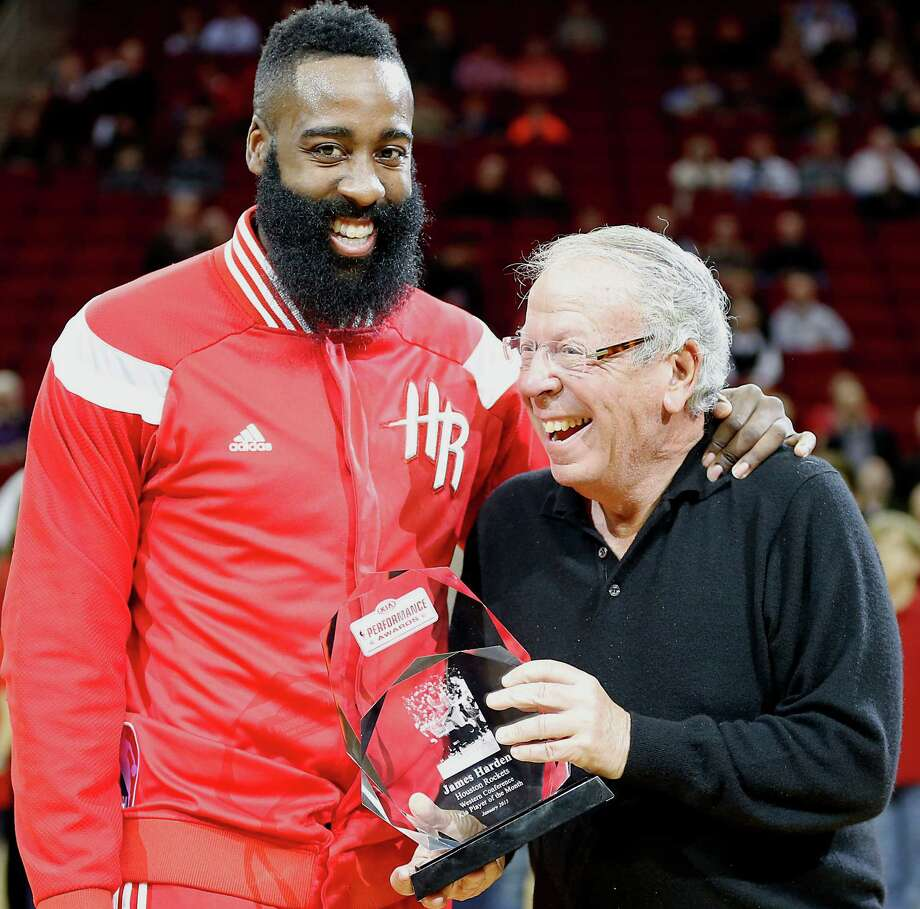 Houston Rockets guard James Harden  left, is presented the Western Conference Player of the Month for January from Houston Rockets Owner Les Alexander before the Rockets play the Los Angeles Clippers at the Toyota Center Wednesday, Feb. 25, 2015, in Houston. ( James Nielsen / Houston Chronicle ) Photo: James Nielsen, Staff / © 2015  Houston Chronicle