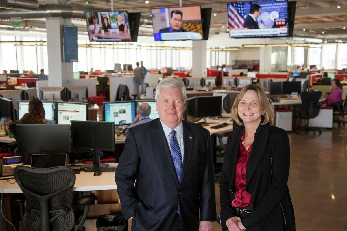 John McKeon, president and publisher of the Houston Chronicle, andNancy Barnes, editor and executive vice president.
