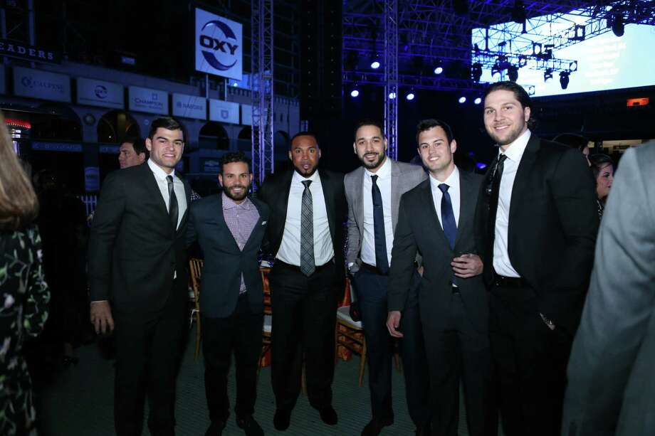Lance McCullers, from left, Jose Altuve, Luis Valbuena, Marwin Gonzalez, Preston Tucker and Jake Marisnick attended the inaugural Diamond Dreams Gala at Minute Maid Park. Photo: Courtesy Of Houston Astros