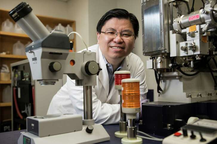 Dr. Francis Tsai, pictured in his lab at Baylor College of Medicine, won the Hackerman award in 2008 from  the Welch Foundation for his innovative research.
