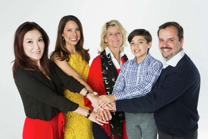 (left to right) Mandy Kao, Anika Jackson, Bonnie Weekley, Andrew Tellepsen and Trent Tellepsen are members of the families that founded the Center for Family Philanthropy with the Greater Houston Community Foundation. Wednesday, Feb. 10, 2016, in Houston. ( Marie D. De Jesus / Houston Chronicle )