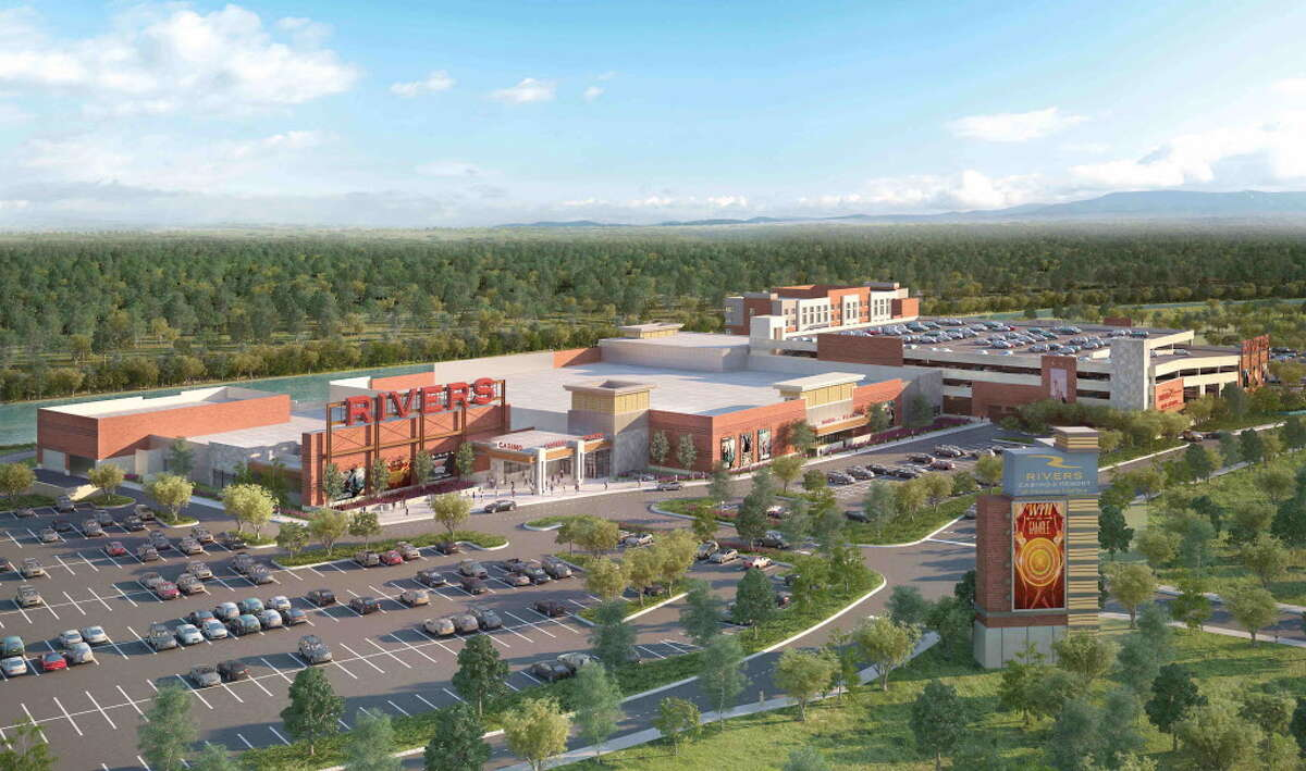This new rendering of the redesigned casino shows an aerial view of the proposed Rivers Casino at Mohawk Harbor in Schenectady. (Rivers Casino at Mohawk Harbor)