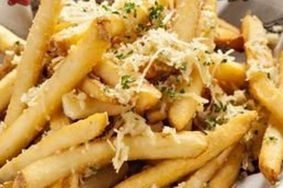 The garlic cheese fries at Rock & Brews