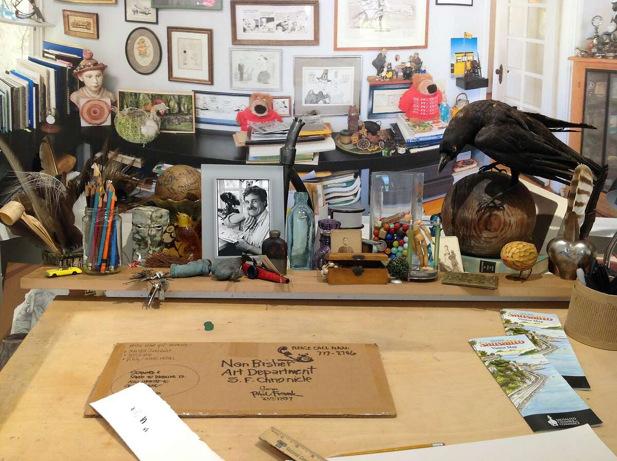 """A recreation of cartoonist Phil Frank's Sausalito studio where he penned his famous """"Farley"""" comic strip for the Chronicle is on view in the exhibition """"Travels with Phil: The Art of Cartoonist Phil Frank"""" at the Marin Museum of Contemporary Art through April 10."""