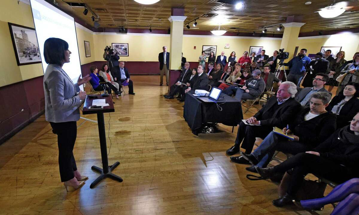 Sarah Reginelli of Capitalize Albany announces two grant programs to support retail business growth in Albany during a press conference on Wednesday, March 23, 2016, in Albany , N.Y. Grants up to $100,000 to give downtown businesses a boost, and up to $5,000 to support ?innovative, authentic, unique and buzz-worthy? promotions in commercial districts, are part of a new effort to support retail business growth. (Skip Dickstein/Times Union)