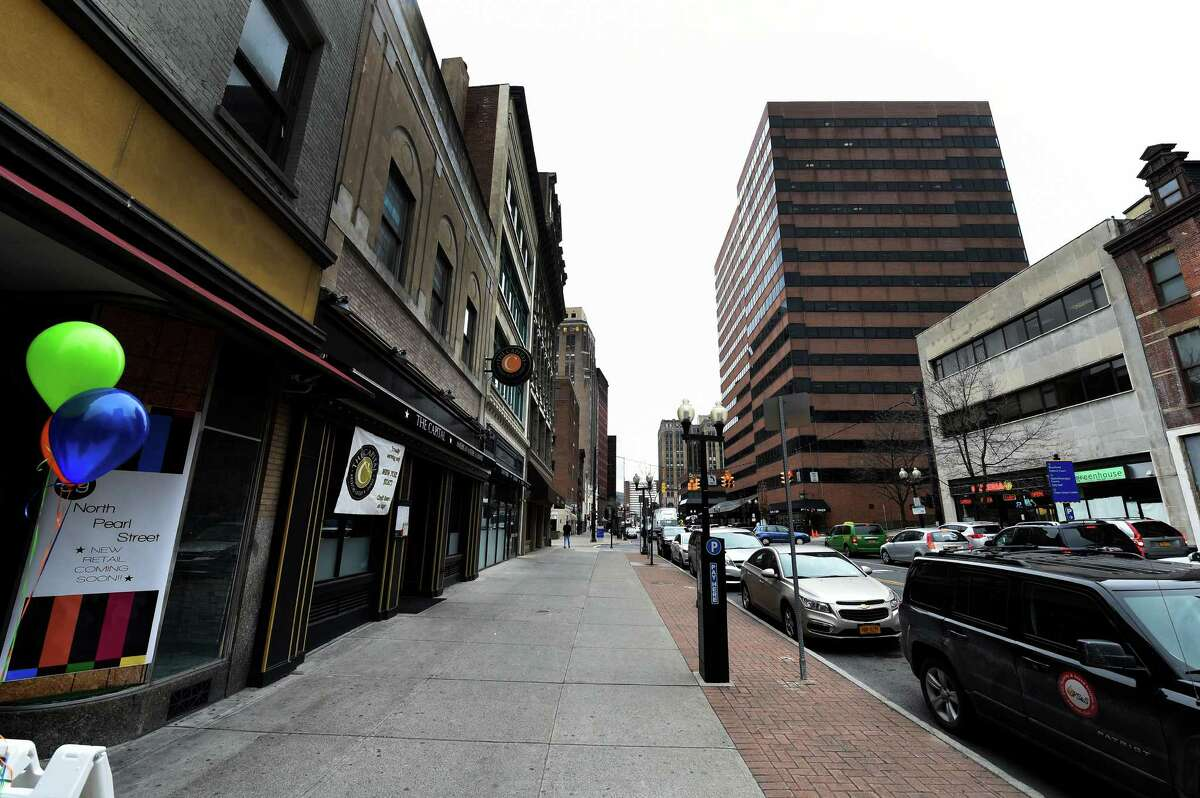 Looking south on North Pearl Street from Steuben Street are many storefronts available for rent as Capitalize Albany announced two grant programs to support retail business growth in Albany during a press conference on Wednesday, March 23, 2016, in Albany , N.Y. Grants up to $100,000 to give downtown businesses a boost, and up to $5,000 to support ?innovative, authentic, unique and buzz-worthy? promotions in commercial districts, are part of a new effort to support retail business growth. (Skip Dickstein/Times Union)