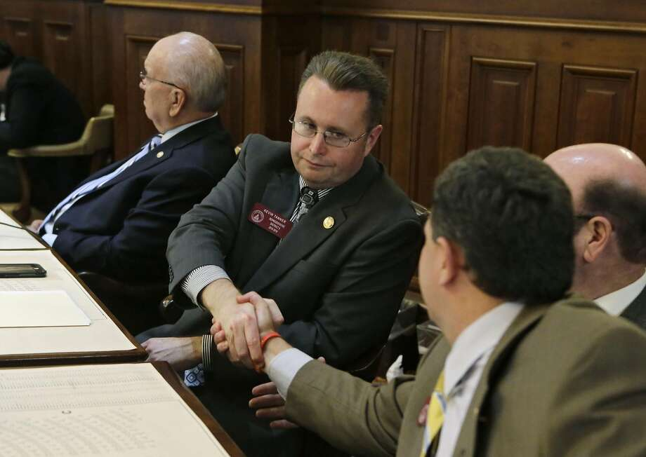 Rep. Kevin Tanner , R-Dawsonville, sponsor of HB 757, is congratulated after the measure passed Wednesday, March 16, 2016, in Atlanta. The Georgia House on Wednesday approved changes to the contentious bill protecting opponents of same-sex marriage. The changes sent to the Senate would protect religious officials who decline performing gay marriages, prevent government burden of religious belief and also prevent government penalty against faith-based organizations, including refusal to serve or hire someone.  (Bob Andres/Atlanta Journal-Constitution via AP)  MARIETTA DAILY OUT; GWINNETT DAILY POST OUT; LOCAL TELEVISION OUT; WXIA-TV OUT; WGCL-TV OUT; MANDATORY CREDIT Photo: Bob Andres, AP