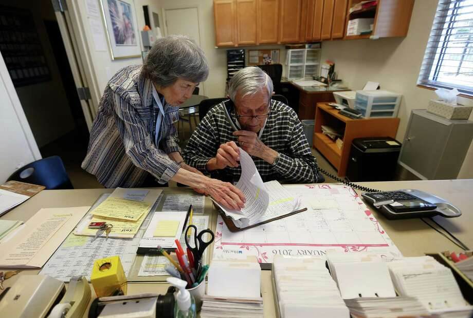 Frances and John Hunter help keep things running at the Hospitality Apartments office. Photo: Karen Warren, Staff / © 2015  Houston Chronicle
