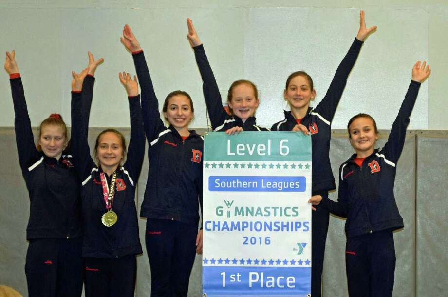 The Darien YMCA Level 6 2016 Southern Leagues Championship team members were (L-R) Lily Fairleigh, Sommer Schmidt, Christina Pizzani, Lizzie Canelli, Dillan Aysseh and Lindsay Hall. Photo: Contributed / Darien News