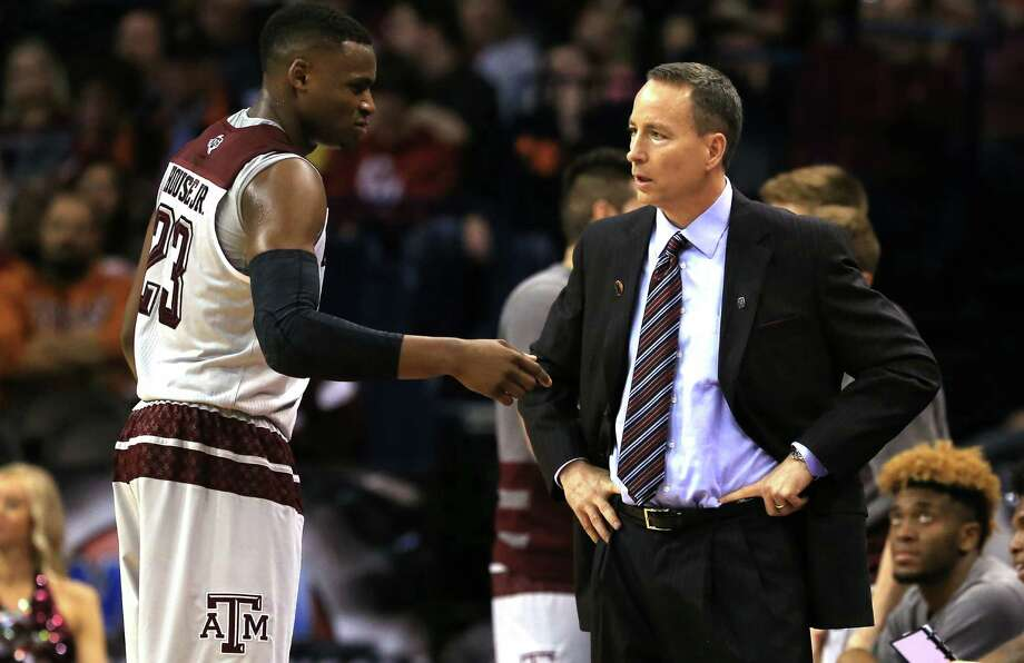 Head coach Billy Kennedy of the Texas A&M Aggies talks with Danuel House in the second half against the Green Bay Phoenix during the first round of the NCAA Tournament at Chesapeake Energy Arena on March 18, 2016 in Oklahoma City. Photo: Tom Pennington /Getty Images / 2016 Getty Images