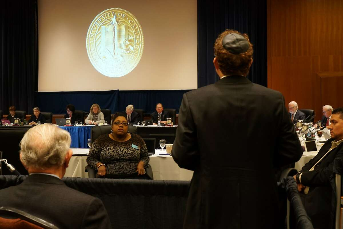 Aron Hier addresses the UC regents at UCSF Mission Bay in San Francisco, Calif. on Wednesday, March 23, 2016. A proposal was made to the UC Regents that would condemn anti-Zion sentiments.