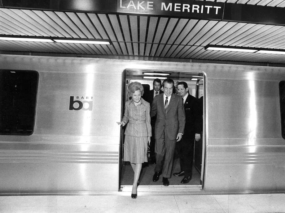 Richard Nixon at the Lake Merritt BART station on Sept. 27, 1972. Healy was one of the BART representatives there during the visit, which began at the San Leandro Station. Photo: Larry Tiscornia, The Chronicle