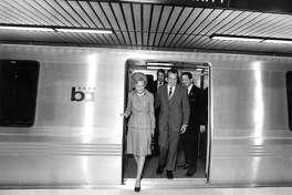 Richard Nixon at the new Lake Merritt BART station. Sept. 27, 1972.
