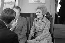 Richard Nixon and his wife Pat ride on BART from the San Leandro station to Lake Merritt in November 1972.